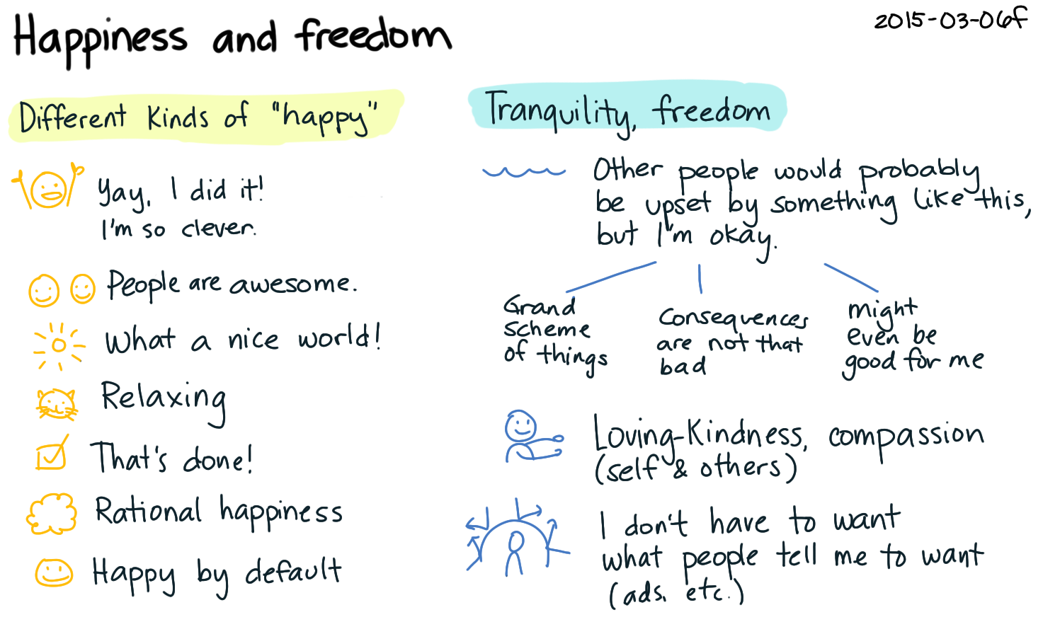 2015-03-06f Happiness and freedom -- index card #feelings #philosophy.png