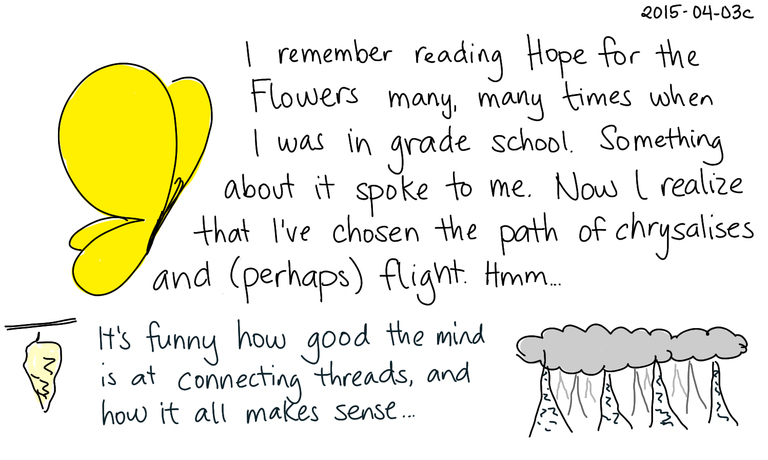 2015-04-03c Hope for the Flowers -- index card #childhood #freedom.png