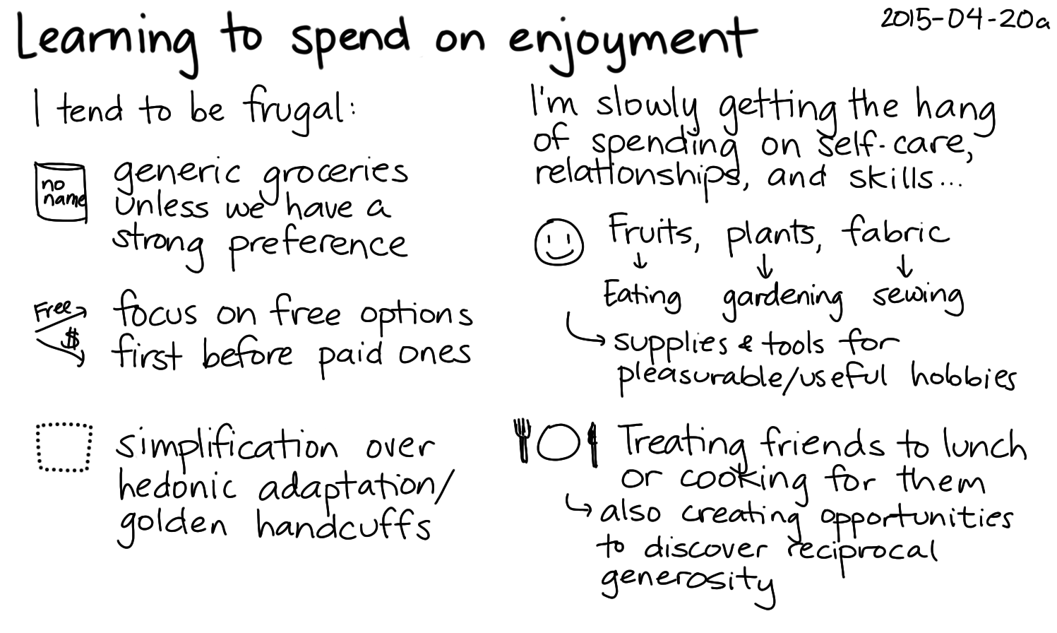 2015-04-20a Learning to spend on enjoyment -- index card #frugality #spending.png