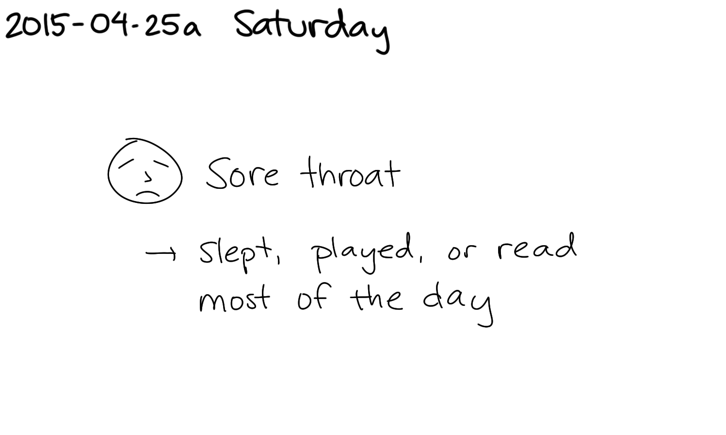 2015-04-25a Saturday -- index card #journal #sick.png