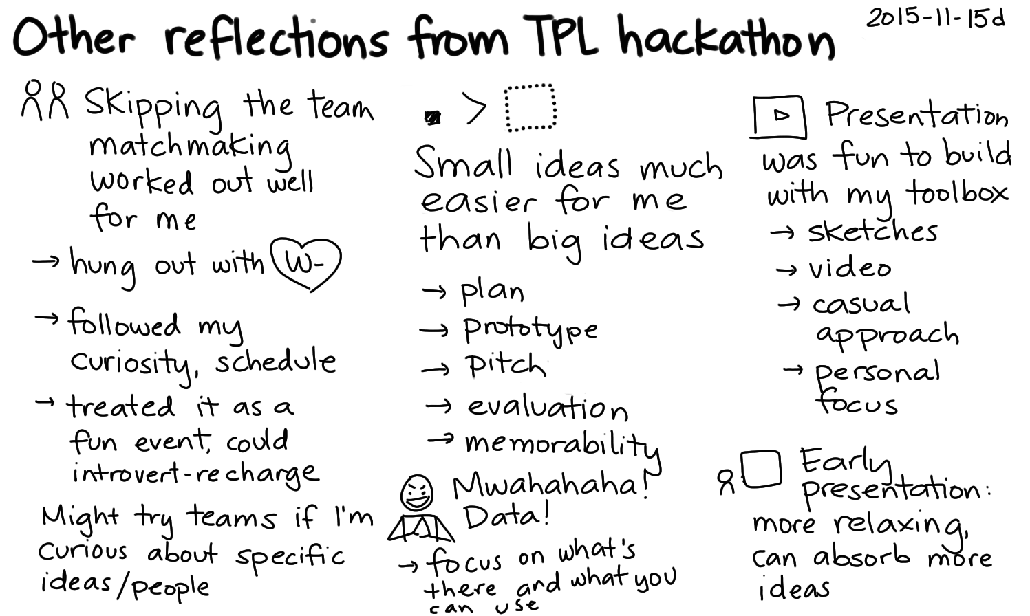 2015-11-15d Other reflections from TPL hackathon -- index card #tpl #hackathon #introversion #prototyping #presenting.png