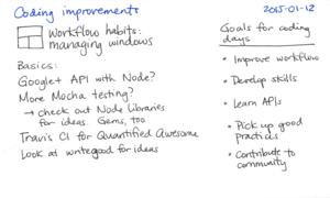 2015-01-12 Coding improvements -- index card #workflow #coding