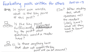 2015-01-13 Evaluating posts written for others -- index card #writing #questions #blogging.png