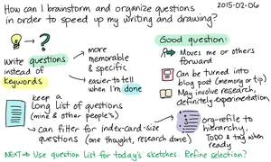 2015-02-06 How can I brainstorm and organize questions in order to speed up my writing and drawing -- index card #thinking #questions #pkm #acceleration