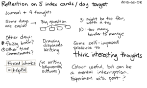 2015-02-08 Reflection on 5 index cards a day target -- index card #drawing #reflection.png