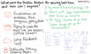 2015-02-11c What were the friction factors for sewing last time, and how can I improve -- index card #sewing #kaizen #reducing-friction