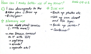 2016-09-03 How can I make better use of my server -- index card #tech #server #capacity.png