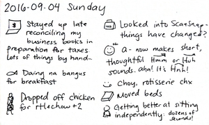 2016-09-04 Sunday -- index card #daily #journal
